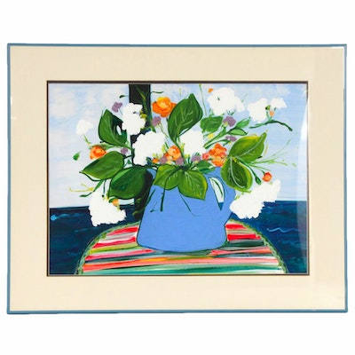 """Jeny Reynolds Oil Painting """"Vase of Flowers on Place Mat"""""""