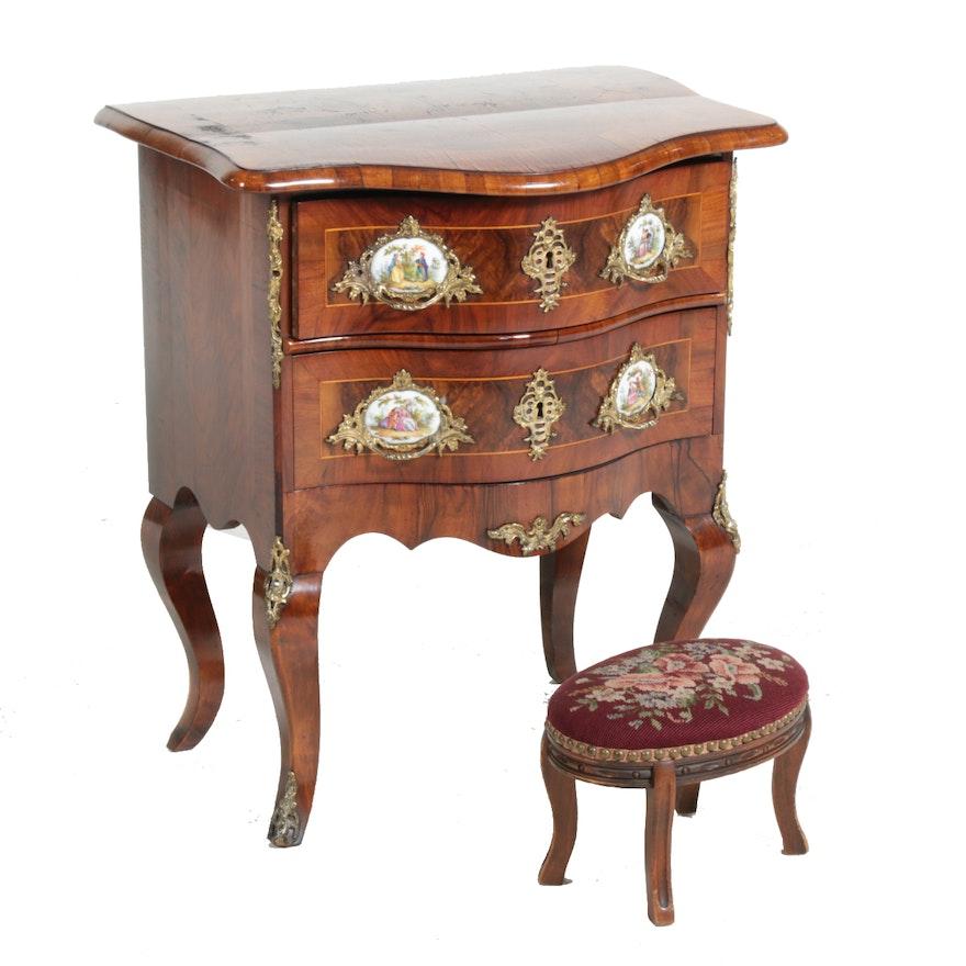 Louis XV Style Walnut & Burl Walnut Table en Chiffonier and Needlework Footstool