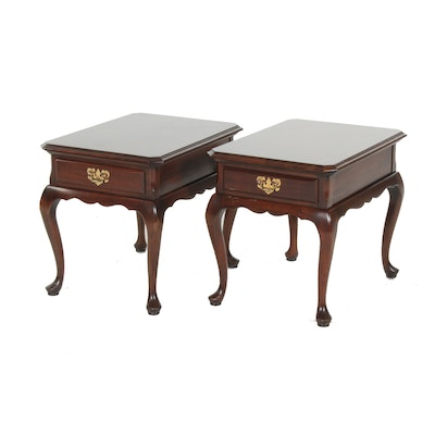 Pair of Harden Furniture Queen Anne Style Cherrywood Side Tables