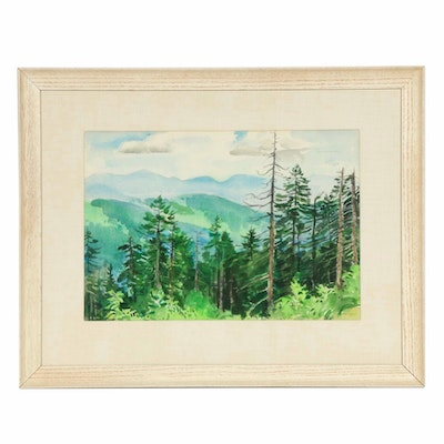 R.G. Mackenzie Forest Landscape Watercolor Painting, 1951
