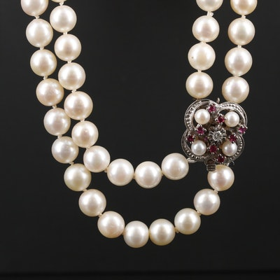 14K Gold Pearl, Ruby and Diamond Double Strand Necklace