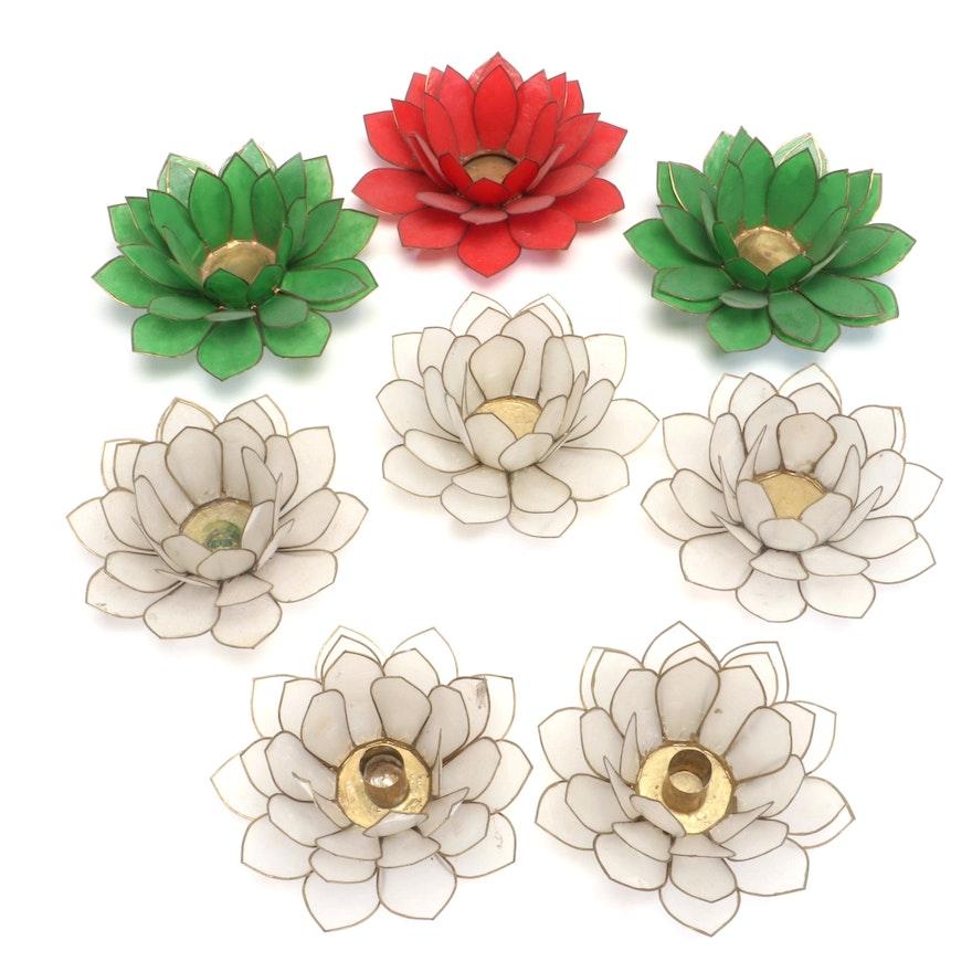 Dyed Capiz Shell Lotus Flower Votive Holders