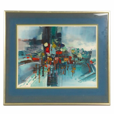 Richard Phipps Abstract Landscape Watercolor Painting, Late 20th Century