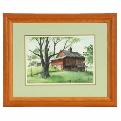 """Bill Arter Watercolor Painting """"Observatory View Farm"""", 1964"""