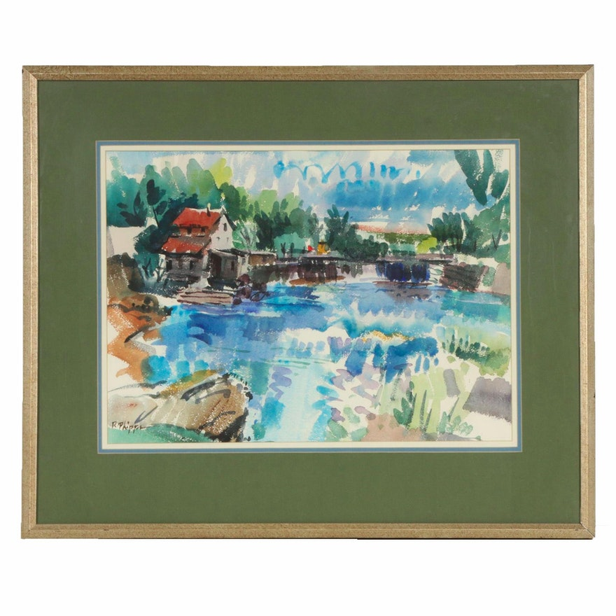 """Richard Phipps Watercolor Painting """"Ohio Sequence #2"""", 20th Century"""