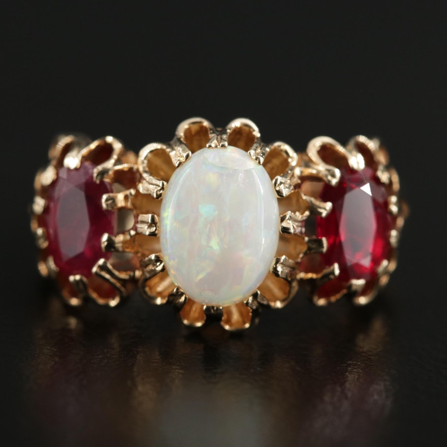 Antique Style 9K Yellow Gold Opal and Ruby Buttercup Ring