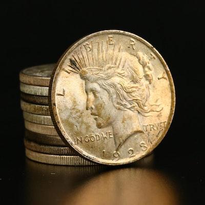 Ten 1923 Peace Silver Dollars