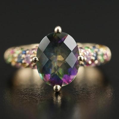 14K Yellow Gold Topaz and Gemstone Ring