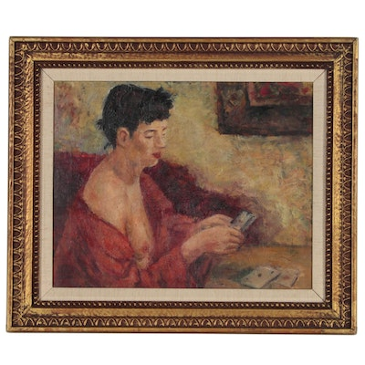 Edith Herman Feder Figure Oil Painting