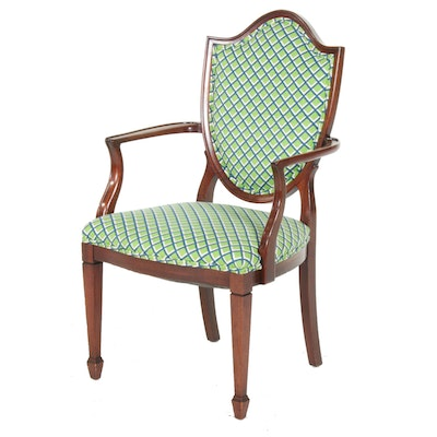 Federal Style Mahogany and Custom-Upholstered Open Armchair
