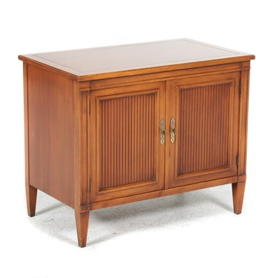 Pecan Finish Neoclassical Style Side Cabinet, 1970s