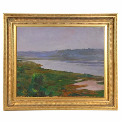 "Marc Byron Whitney Oil Painting ""Back Bay"", Late 20th Century"