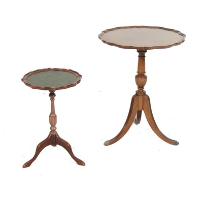 Two Federal Style Scalloped Top Tripod Tables
