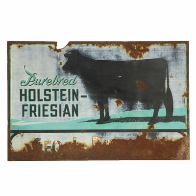 Holstein-Friesian Cattle Painted Enameled Metal Sign, circa 1930