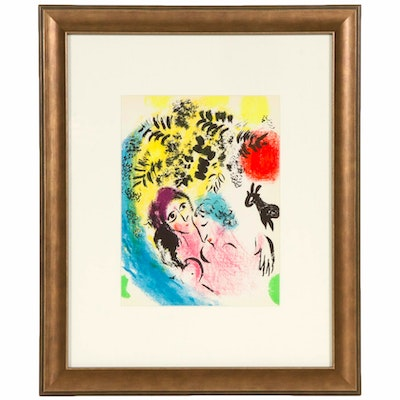"Marc Chagall Color Lithograph ""Couple in Front of Tree"", circa 1960"