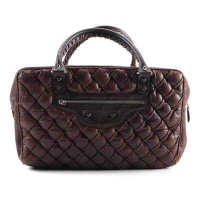 Balenciaga Padded Brown Leather Tote with Whipstitch Handles
