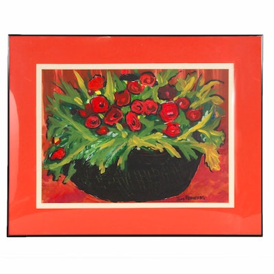 "Jeny Reynolds Modernist Still Life Oil Painting ""Red Flowers in Straw Basket"""