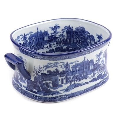 Victoria Ware Blue and White Transfer Printed Ironstone Jardiniere/Footbath
