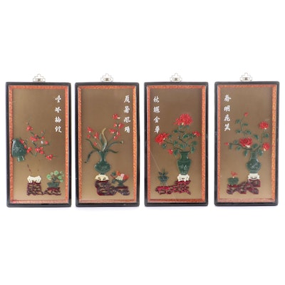East Asian Faux Stone Framed Floral Vingettes