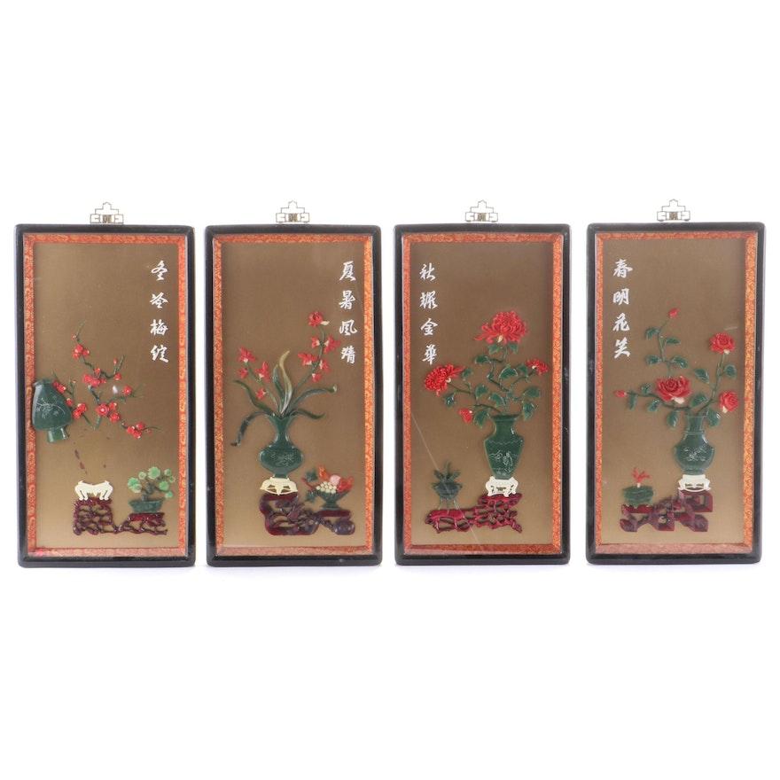 East Asian Faux Stone Framed Floral Vingettes