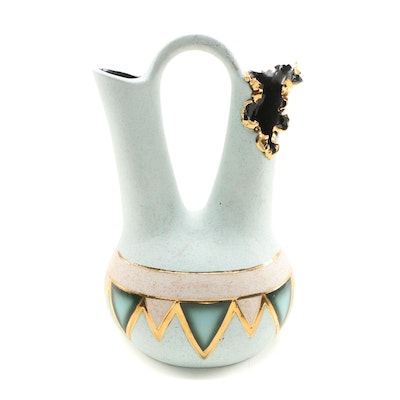 Sharon Penn Southwestern Style Ceramic Dual Vase with Gold Trim
