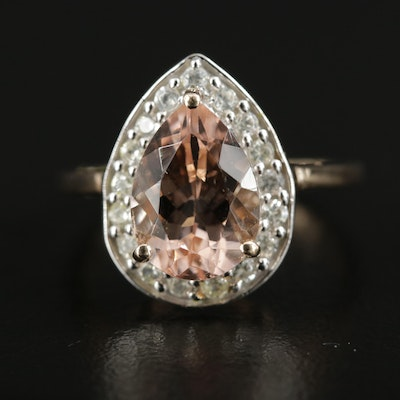 British 10K Yellow Gold Morganite and Zircon Halo Ring