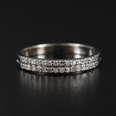 10K White Gold Diamond Double Row Band