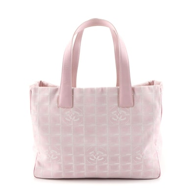 Chanel Travel Line Tote Bag in Pink CC Logo Nylon and Leather