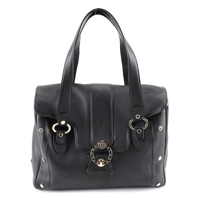 Bvlgari Handbag in Black Grained Leather