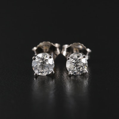 14K White Gold 0.73 CTW Diamond Stud Earrings