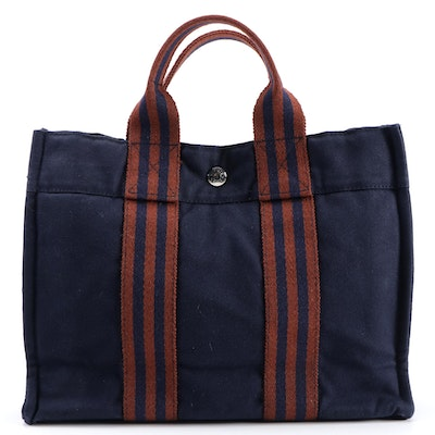 Hermès Fourre Tout in Dark Blue and Rust Canvas