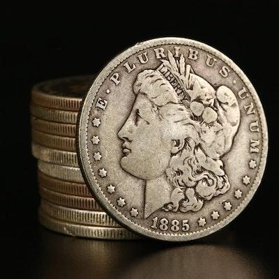 Eleven Morgan Silver Dollars, 1885 to 1900