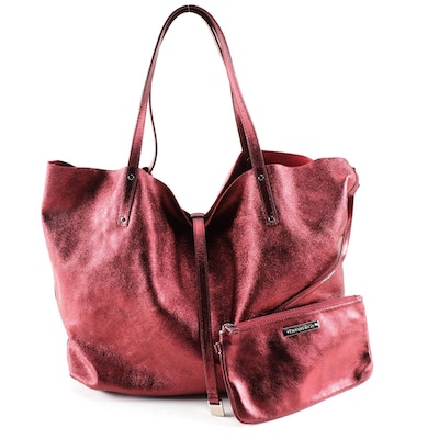 Tiffany Reversible Red Suede and Metallic Leather Tote with Clutch