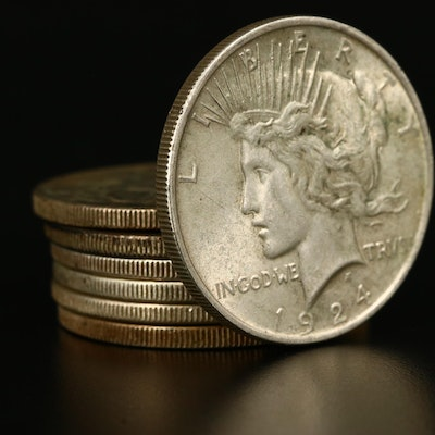 Seven Peace Silver Dollars, 1923 to 1935
