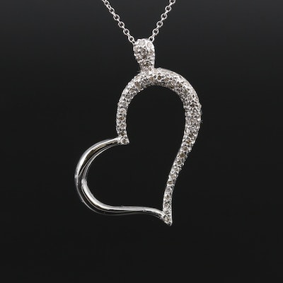 14K Diamond Heart Pendant on 18K Necklace