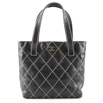 Chanel Small Surpiqué Tote Bag in Black Quilted Leather with Contrast Stitching