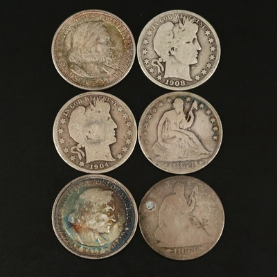 Group of Liberty Seated, Barber, and Commemorative Silver Half Dollars