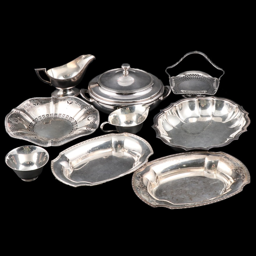 Hartford Sterling Co. and Other Silver Plate Table Accessories and Serveware