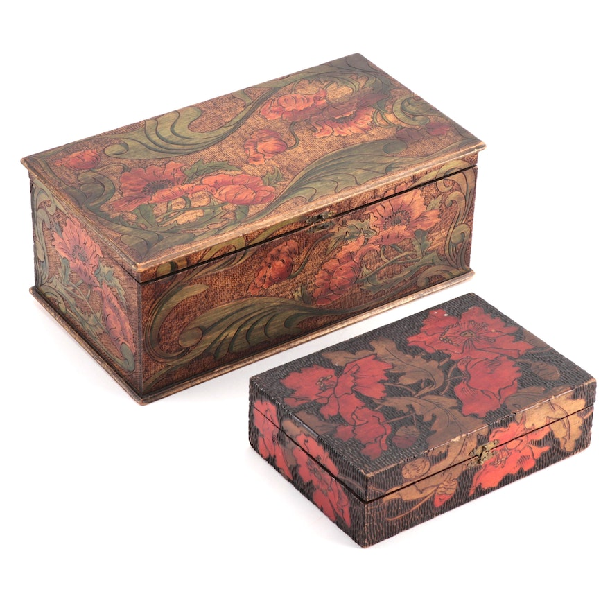 Two Polychrome-Decorated Pyrography Boxes
