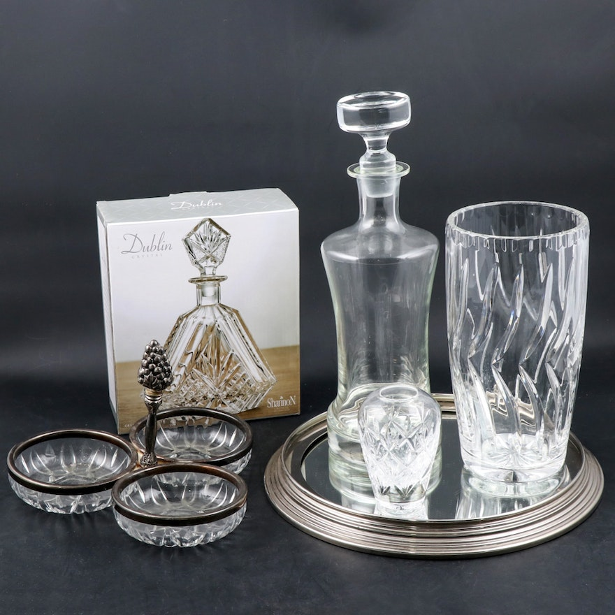 Tiffany & Co. Bud Vase, Decanters, Mirrored Tray and More
