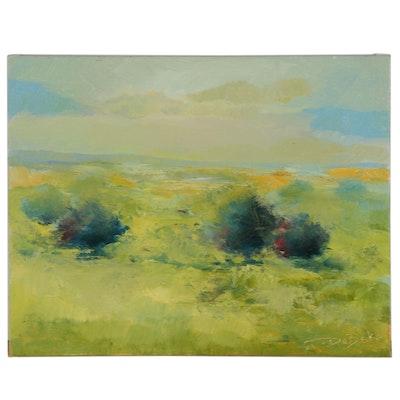"Vova DeBak Landscape Oil Painting ""Rain"""