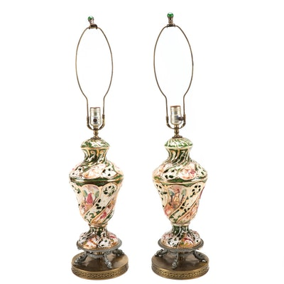Pair of Capodimonte Style Porcelain Table Lamps, Mid-20th Century