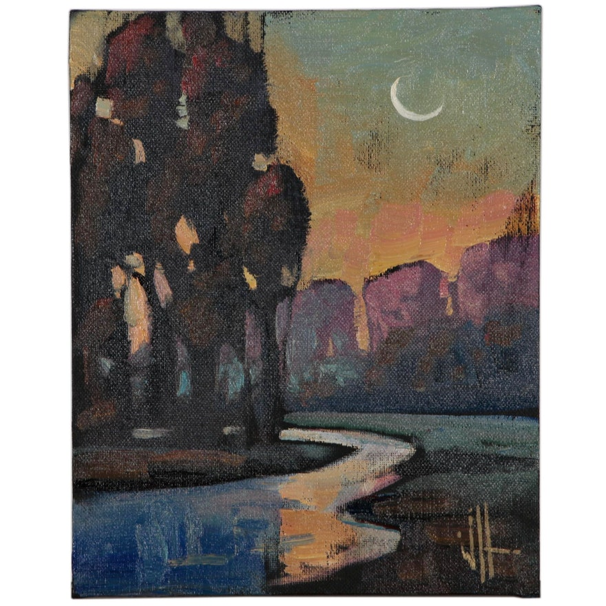 William Hawkins Landscape Oil Painting of Nocturnal River Scene