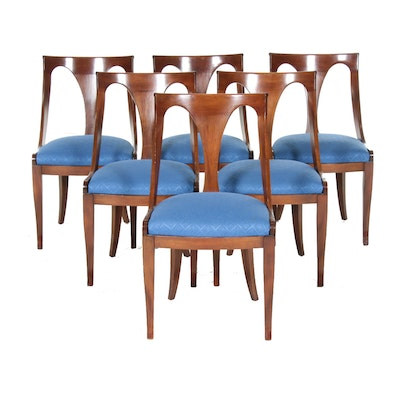 Six Directoire Style Cherrywood Gondola Dining Chairs, 20th Century