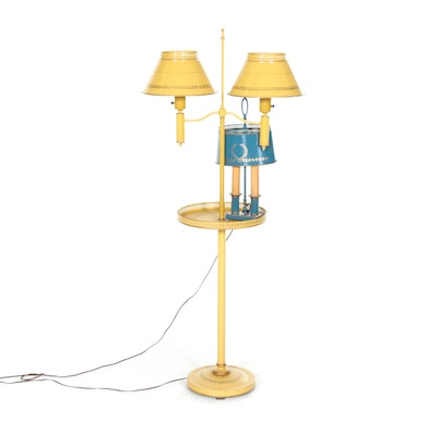 Tole Painted Standing Table and Accent Lamps, Mid-20th Century