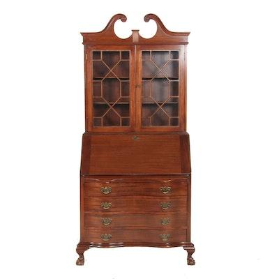 Maddox Chippendale Style Mahogany Secretary Bookcase