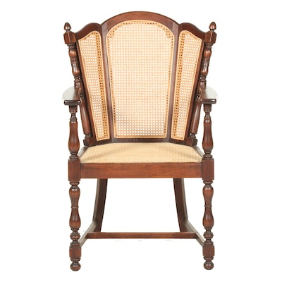 Mahogany and Caned Wingback Open Armchair