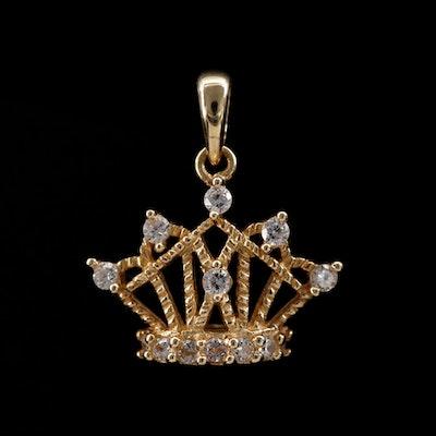 10K Gold Cubic Zirconia Crown Pendant