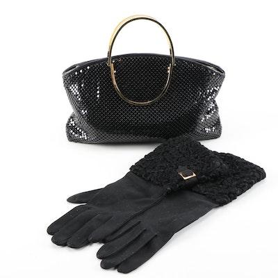 Kenneth Jay Lane for Van Raalte Gauntlet Gloves with Mesh Enamel Bracelet Bag