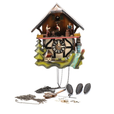 Hand Carved and Polychrome-Decorated German Cuckoo Clock